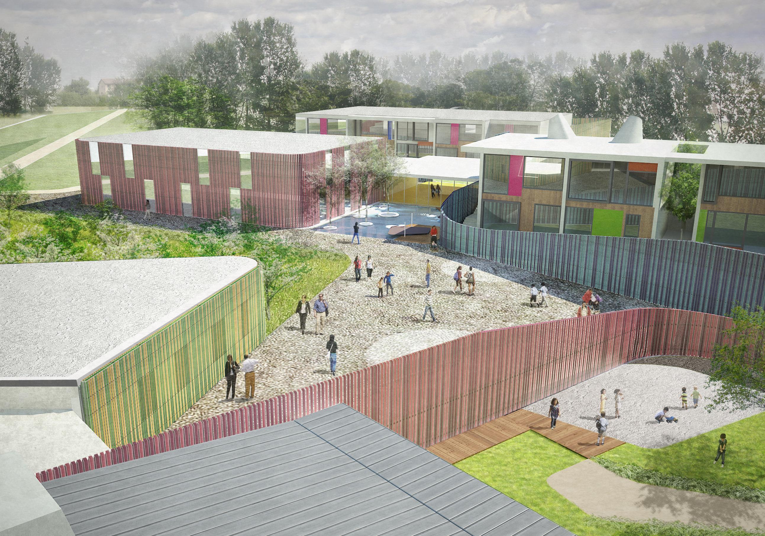Rendering del nuovo polo scolastico di Via Goldoni